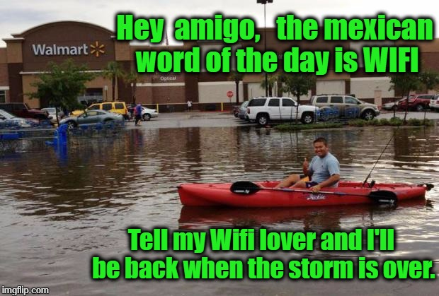 Hey  amigo,   the mexican word of the day is WIFI Tell my Wifi lover and I'll be back when the storm is over. | image tagged in walmart flood | made w/ Imgflip meme maker