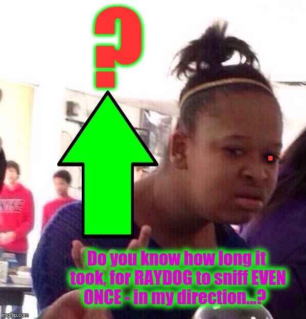 Black Girl Wat Meme | ? . Do you know how long it took, for RAYDOG to sniff EVEN ONCE - in my direction...? | image tagged in memes,black girl wat | made w/ Imgflip meme maker