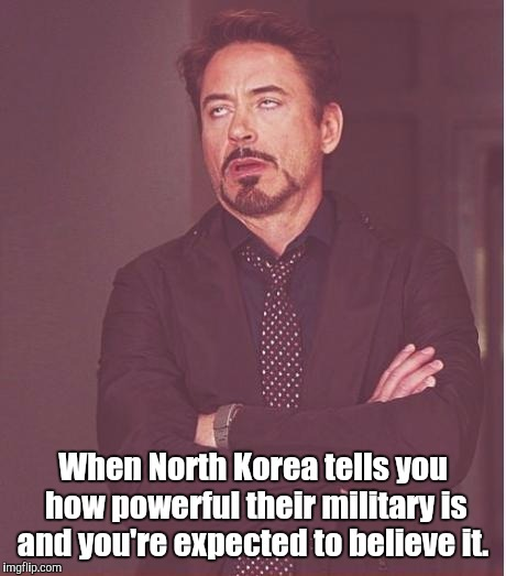 Face You Make Robert Downey Jr Meme | When North Korea tells you how powerful their military is and you're expected to believe it. | image tagged in memes,face you make robert downey jr | made w/ Imgflip meme maker