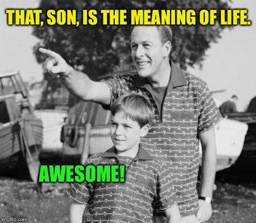 THAT, SON, IS THE MEANING OF LIFE. AWESOME! | made w/ Imgflip meme maker