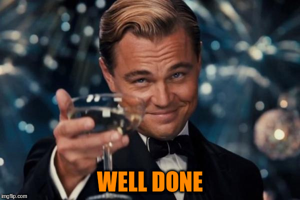 Leonardo Dicaprio Cheers Meme | WELL DONE | image tagged in memes,leonardo dicaprio cheers | made w/ Imgflip meme maker