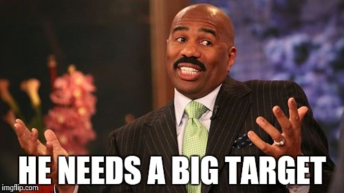 Steve Harvey Meme | HE NEEDS A BIG TARGET | image tagged in memes,steve harvey | made w/ Imgflip meme maker