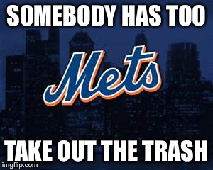 new york mets | SOMEBODY HAS TOO TAKE OUT THE TRASH | image tagged in new york mets | made w/ Imgflip meme maker