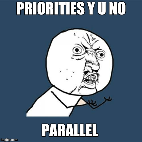 Y U No Meme | PRIORITIES Y U NO PARALLEL | image tagged in memes,y u no | made w/ Imgflip meme maker