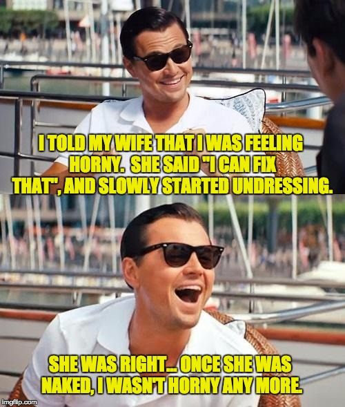 "Leonardo Dicaprio Wolf Of Wall Street Meme | I TOLD MY WIFE THAT I WAS FEELING HORNY.  SHE SAID ""I CAN FIX THAT"", AND SLOWLY STARTED UNDRESSING. SHE WAS RIGHT... ONCE SHE WAS NAKED, I W 