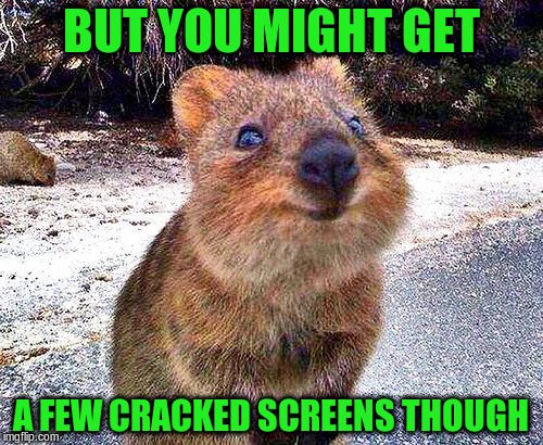 BUT YOU MIGHT GET A FEW CRACKED SCREENS THOUGH | made w/ Imgflip meme maker