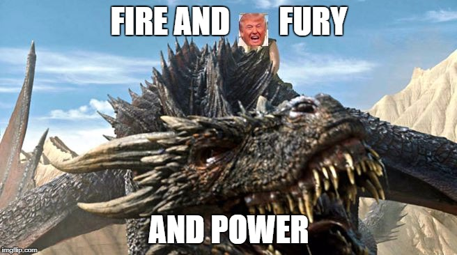 Fire and Fury Dracarys | FIRE AND        FURY AND POWER | image tagged in dracarys,trump,gameofthrones | made w/ Imgflip meme maker
