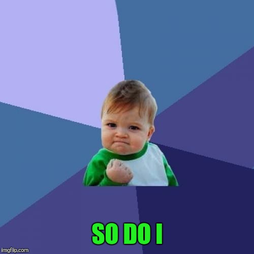 Success Kid Meme | SO DO I | image tagged in memes,success kid | made w/ Imgflip meme maker