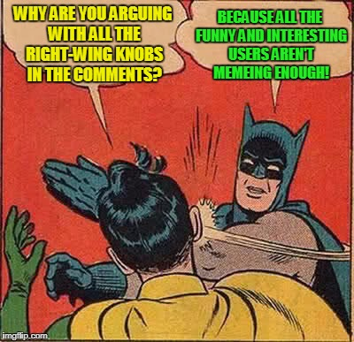 is it just me, or does it seem like many flippers are taking summer meme breaks at the same time? | WHY ARE YOU ARGUING WITH ALL THE RIGHT-WING KNOBS IN THE COMMENTS? BECAUSE ALL THE FUNNY AND INTERESTING USERS AREN'T MEMEING ENOUGH! | image tagged in memes,batman slapping robin,imgflip users,imgflip,right wing,trolls | made w/ Imgflip meme maker