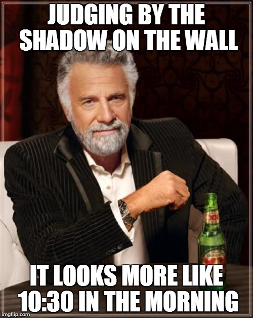 The Most Interesting Man In The World Meme | JUDGING BY THE SHADOW ON THE WALL IT LOOKS MORE LIKE 10:30 IN THE MORNING | image tagged in memes,the most interesting man in the world | made w/ Imgflip meme maker