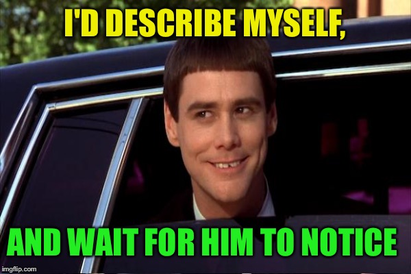 I'D DESCRIBE MYSELF, AND WAIT FOR HIM TO NOTICE | made w/ Imgflip meme maker