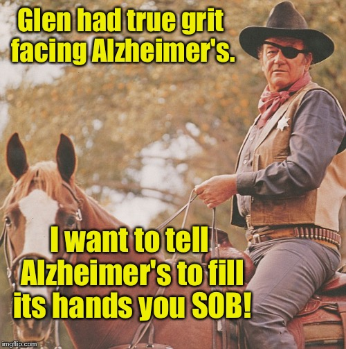 Glen had true grit facing Alzheimer's. I want to tell Alzheimer's to fill its hands you SOB! | made w/ Imgflip meme maker