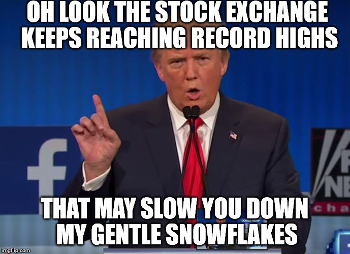 Find a safe space | OH LOOK THE STOCK EXCHANGE KEEPS REACHING RECORD HIGHS THAT MAY SLOW YOU DOWN MY GENTLE SNOWFLAKES | image tagged in trump,safety first,memes to meme,a meme story,meming in the key of m | made w/ Imgflip meme maker