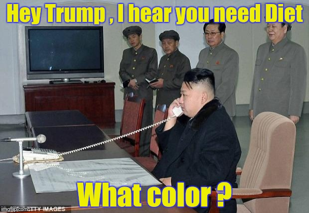 Twitter war ? Phoney phone call war , funniest guy wins ! | Hey Trump , I hear you need Diet What color ? | image tagged in kim jong un phone,bad joke,funny signs | made w/ Imgflip meme maker