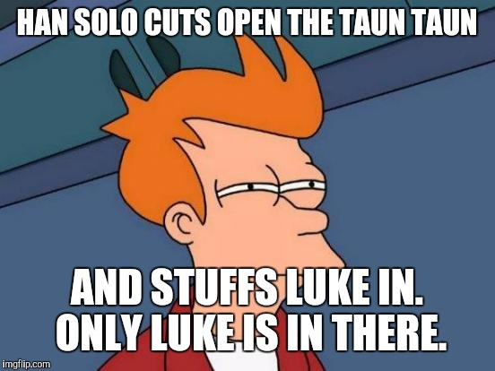 Futurama Fry Meme | HAN SOLO CUTS OPEN THE TAUN TAUN AND STUFFS LUKE IN. ONLY LUKE IS IN THERE. | image tagged in memes,futurama fry | made w/ Imgflip meme maker