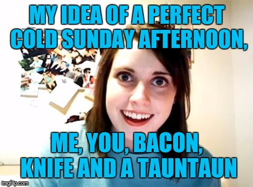MY IDEA OF A PERFECT COLD SUNDAY AFTERNOON, ME, YOU, BACON, KNIFE AND A TAUNTAUN | made w/ Imgflip meme maker