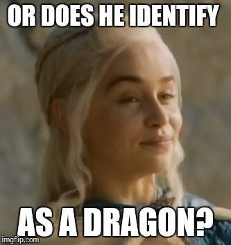 OR DOES HE IDENTIFY AS A DRAGON? | made w/ Imgflip meme maker