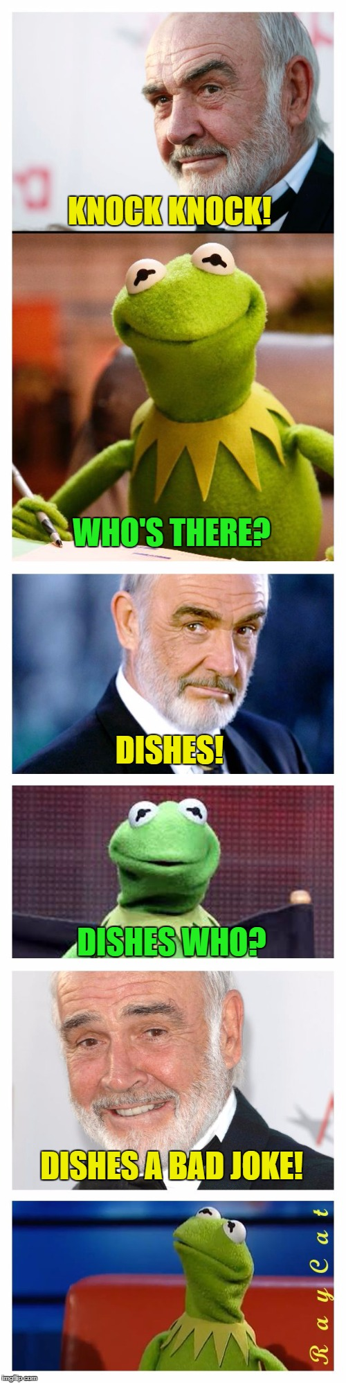 Sean and Kermit | KNOCK KNOCK! WHO'S THERE? DISHES! DISHES WHO? DISHES A BAD JOKE! | image tagged in sean and kermit,memes,sean connery  kermit | made w/ Imgflip meme maker