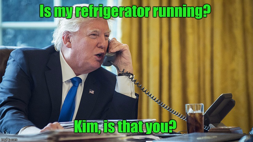 President Trump gets a call from that short bus state nation known as North Korea.  | Is my refrigerator running? Kim, is that you? | image tagged in funny meme,trump,prank,telephone,north korea | made w/ Imgflip meme maker