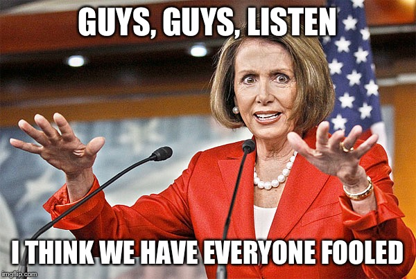 Nancy's Pelosi | GUYS, GUYS, LISTEN I THINK WE HAVE EVERYONE FOOLED | image tagged in nancy pelosi is crazy,fooled,lies,liar | made w/ Imgflip meme maker