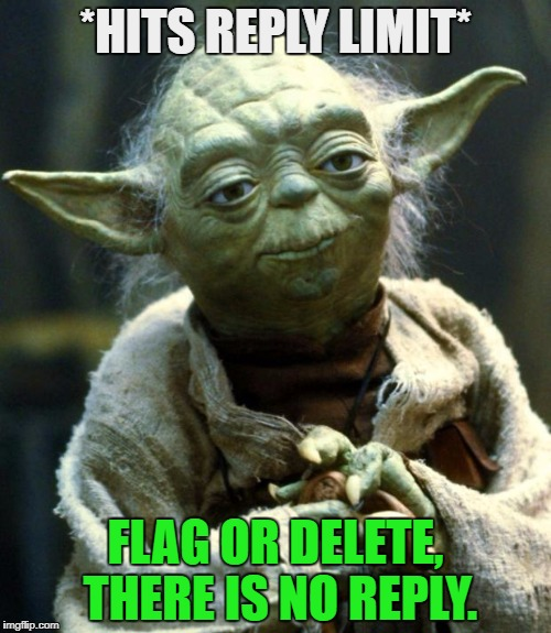 Star Wars Yoda Meme | *HITS REPLY LIMIT* FLAG OR DELETE, THERE IS NO REPLY. | image tagged in memes,star wars yoda | made w/ Imgflip meme maker