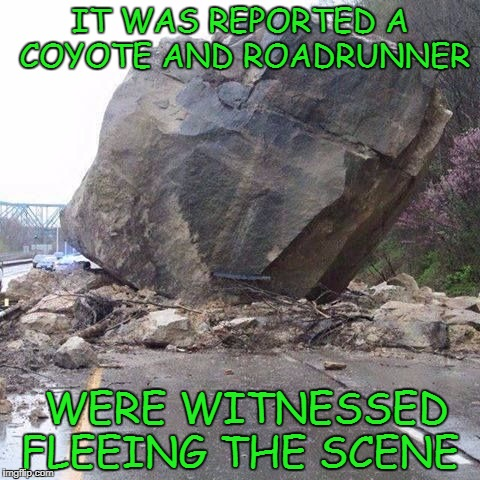 IT WAS REPORTED A COYOTE AND ROADRUNNER WERE WITNESSED FLEEING THE SCENE | image tagged in boulder | made w/ Imgflip meme maker