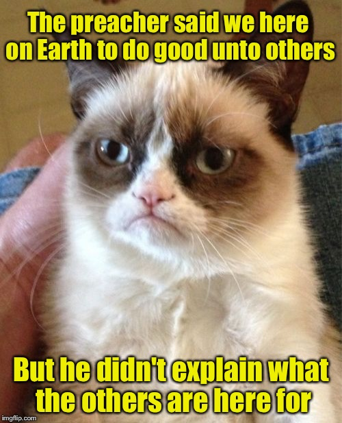 Grumpy Cat Meme | The preacher said we here on Earth to do good unto others But he didn't explain what the others are here for | image tagged in memes,grumpy cat | made w/ Imgflip meme maker