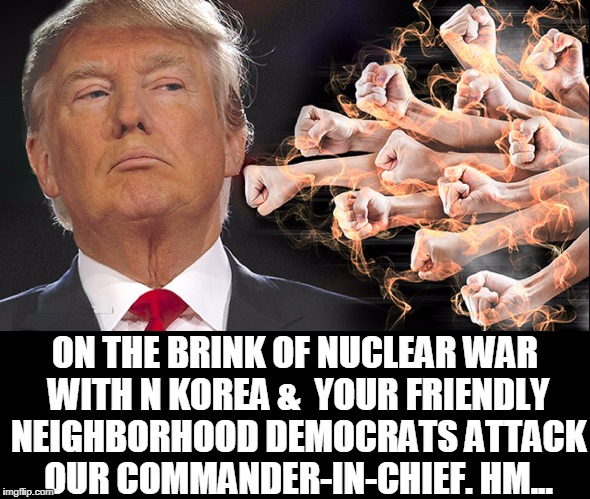 United We Stand... you, Friggin' Idiots |  ON THE BRINK OF NUCLEAR WAR WITH N KOREA &  YOUR FRIENDLY NEIGHBORHOOD DEMOCRATS ATTACK OUR COMMANDER-IN-CHIEF. HM... | image tagged in vince vance,donald j trump,commander in chief,north korea,nuclear threat,political memes | made w/ Imgflip meme maker