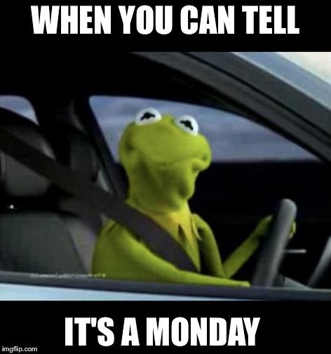 Kermit Driving |  WHEN YOU CAN TELL; IT'S A MONDAY | image tagged in kermit driving | made w/ Imgflip meme maker