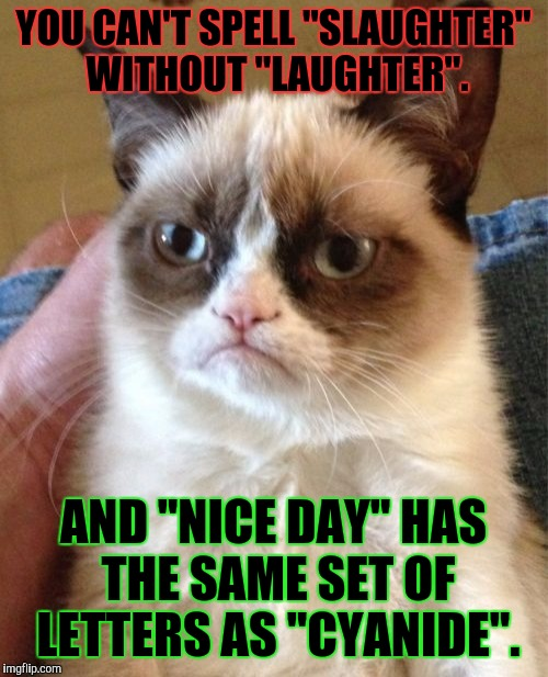 "HE HAS A WAY WITH WORDS. :D | YOU CAN'T SPELL ""SLAUGHTER"" WITHOUT ""LAUGHTER"". AND ""NICE DAY"" HAS THE SAME SET OF LETTERS AS ""CYANIDE"". 