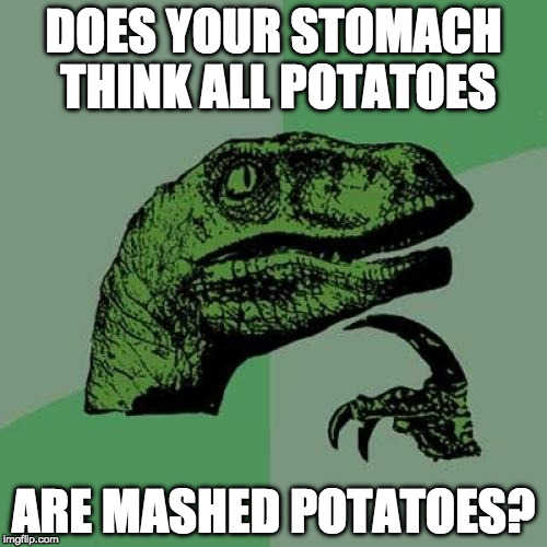 Asking for a friend. | DOES YOUR STOMACH THINK ALL POTATOES ARE MASHED POTATOES? | image tagged in memes,philosoraptor,asking for a friend,iwanttobebacon,iwanttobebaconcom | made w/ Imgflip meme maker