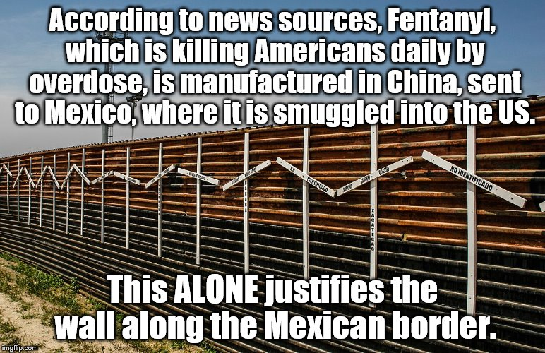 Border wall | According to news sources, Fentanyl, which is killing Americans daily by overdose, is manufactured in China, sent to Mexico, where it is smu | image tagged in trump | made w/ Imgflip meme maker