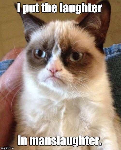 Grumpy Cat Meme | I put the laughter in manslaughter. | image tagged in memes,grumpy cat | made w/ Imgflip meme maker