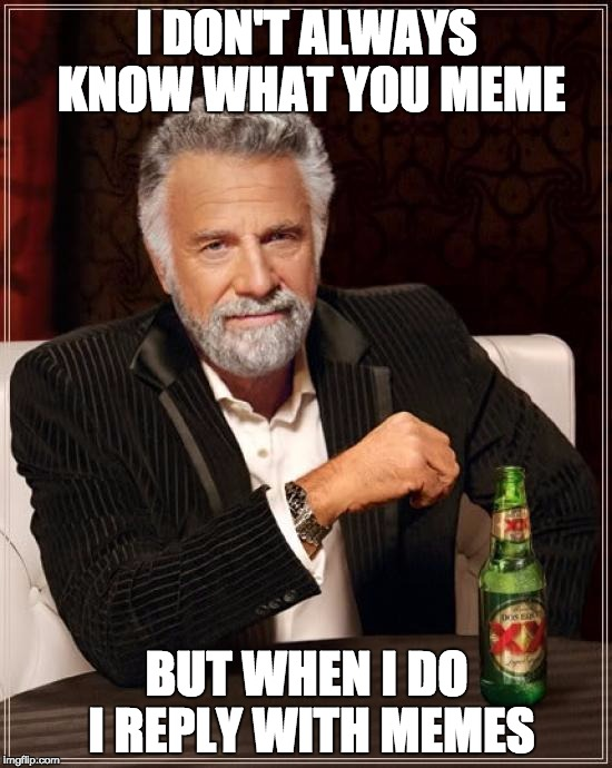 The Most Interesting Man In The World Meme | I DON'T ALWAYS KNOW WHAT YOU MEME BUT WHEN I DO I REPLY WITH MEMES | image tagged in memes,the most interesting man in the world | made w/ Imgflip meme maker