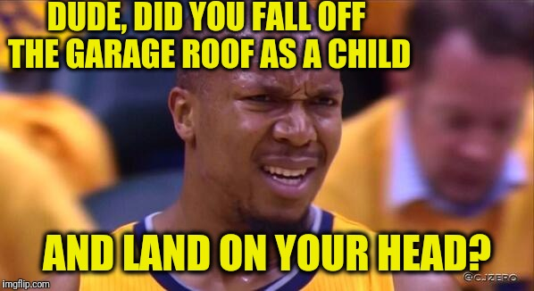 huh | DUDE, DID YOU FALL OFF THE GARAGE ROOF AS A CHILD AND LAND ON YOUR HEAD? | image tagged in huh | made w/ Imgflip meme maker
