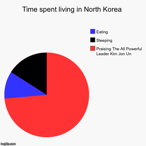 Time spent living in North Korea | Praising The All Powerful Leader Kim Jon Un, Sleeping, Eating | image tagged in funny,pie charts | made w/ Imgflip pie chart maker