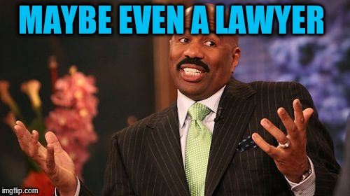 Steve Harvey Meme | MAYBE EVEN A LAWYER | image tagged in memes,steve harvey | made w/ Imgflip meme maker