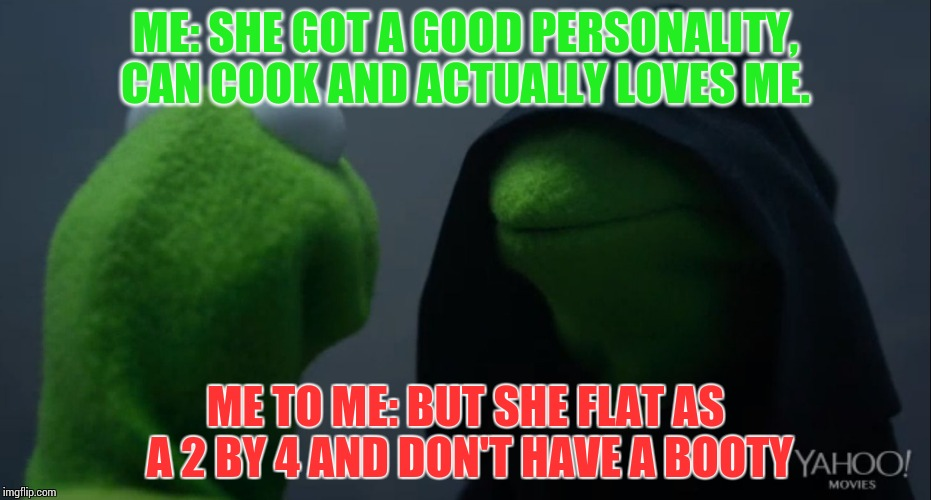 Kermit to Dark Kermit | ME: SHE GOT A GOOD PERSONALITY, CAN COOK AND ACTUALLY LOVES ME. ME TO ME: BUT SHE FLAT AS A 2 BY 4 AND DON'T HAVE A BOOTY | image tagged in kermit to dark kermit | made w/ Imgflip meme maker