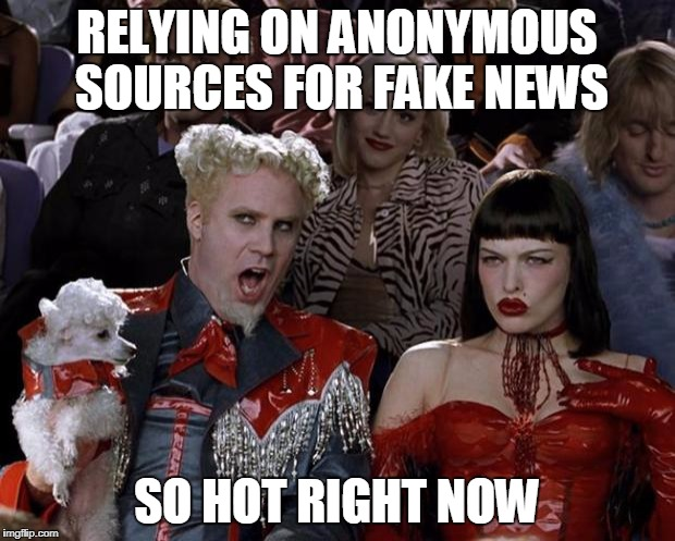 There Is No News Anymore | RELYING ON ANONYMOUS SOURCES FOR FAKE NEWS SO HOT RIGHT NOW | image tagged in memes,mugatu so hot right now | made w/ Imgflip meme maker