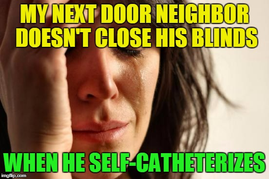 First World Problems Meme | MY NEXT DOOR NEIGHBOR DOESN'T CLOSE HIS BLINDS WHEN HE SELF-CATHETERIZES | image tagged in memes,first world problems | made w/ Imgflip meme maker