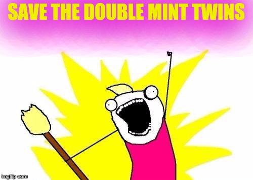 X All The Y Meme | SAVE THE DOUBLE MINT TWINS | image tagged in memes,x all the y | made w/ Imgflip meme maker