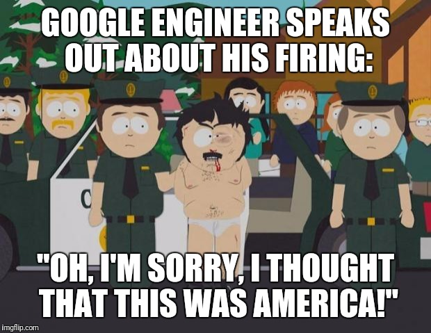 "I am going to boycott & not use Google anymore! (Yeah, right!) | GOOGLE ENGINEER SPEAKS OUT ABOUT HIS FIRING: ""OH, I'M SORRY, I THOUGHT THAT THIS WAS AMERICA!"" 