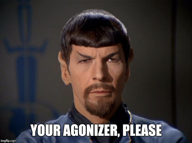 YOUR AGONIZER, PLEASE | image tagged in spock beard | made w/ Imgflip meme maker