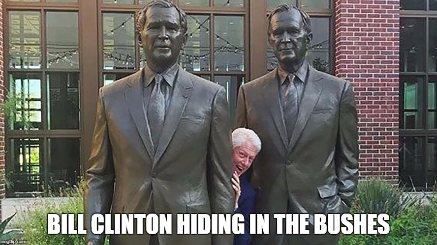 BILL CLINTON HIDING IN THE BUSHES | image tagged in bill clinton | made w/ Imgflip meme maker
