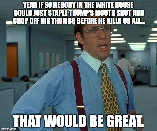That Would Be Great Meme | YEAH IF SOMEBODY IN THE WHITE HOUSE COULD JUST STAPLE TRUMP'S MOUTH SHUT AND CHOP OFF HIS THUMBS BEFORE HE KILLS US ALL... THAT WOULD BE GRE | image tagged in memes,that would be great,donald trump,nuclear explosion,north korea | made w/ Imgflip meme maker