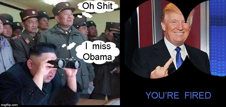 I miss Obama | image tagged in kim jong un,politics lol,funny,funny memes,north korea,donald trump you're fired | made w/ Imgflip meme maker