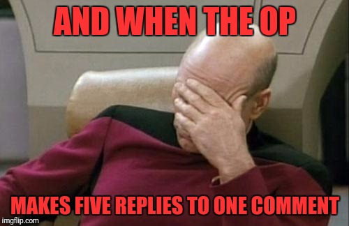 Captain Picard Facepalm Meme | AND WHEN THE OP MAKES FIVE REPLIES TO ONE COMMENT | image tagged in memes,captain picard facepalm | made w/ Imgflip meme maker