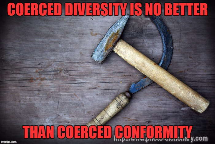 Coerced Diversity | COERCED DIVERSITY IS NO BETTER THAN COERCED CONFORMITY | image tagged in coercion,hammer and sickle,authoritarian,diversity,conformity,memes | made w/ Imgflip meme maker