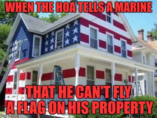 I'll salute that! |  WHEN THE HOA TELLS A MARINE; THAT HE CAN'T FLY A FLAG ON HIS PROPERTY | image tagged in flag house,marine,hoa | made w/ Imgflip meme maker