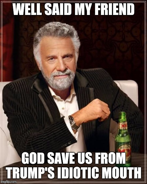 The Most Interesting Man In The World Meme | WELL SAID MY FRIEND GOD SAVE US FROM TRUMP'S IDIOTIC MOUTH | image tagged in memes,the most interesting man in the world | made w/ Imgflip meme maker
